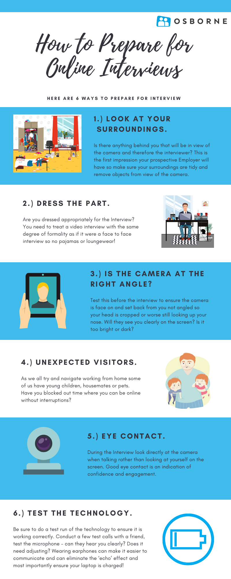 How to prepare for an online interview top tips infographic.